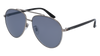 GUCCI GG0043SA AVIATOR Sunglasses For Men  GG0043SA-001 RUTHENIUM BLACK / SILVER SHINY 61-14-145