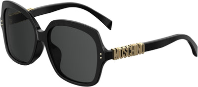 Moschino MOS 014/F/S Square Sunglasses 0807-0807  Black (IR Gray Blue)