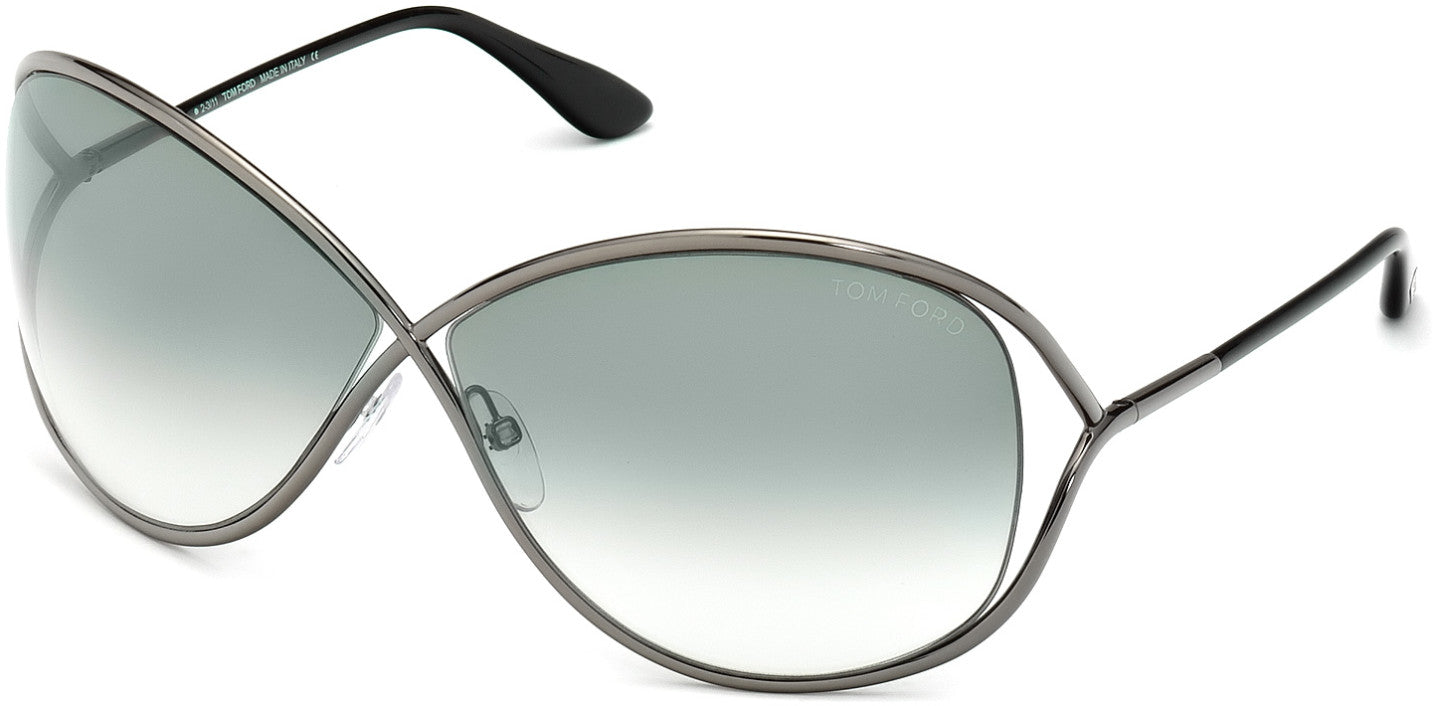 Tom Ford FT0130 Miranda Geometric Sunglasses 08B-08B - Shiny Gunmetal / Gradient Smoke Lenses
