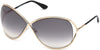 Tom Ford FT0130 Miranda Geometric Sunglasses 28B-28B - Shiny Rose Gold/ Gradient Smoke Lenses