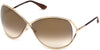 Tom Ford FT0130 Miranda Geometric Sunglasses 28G-28G - Shiny Rose Gold/ Gradient Brown Flash Lenses