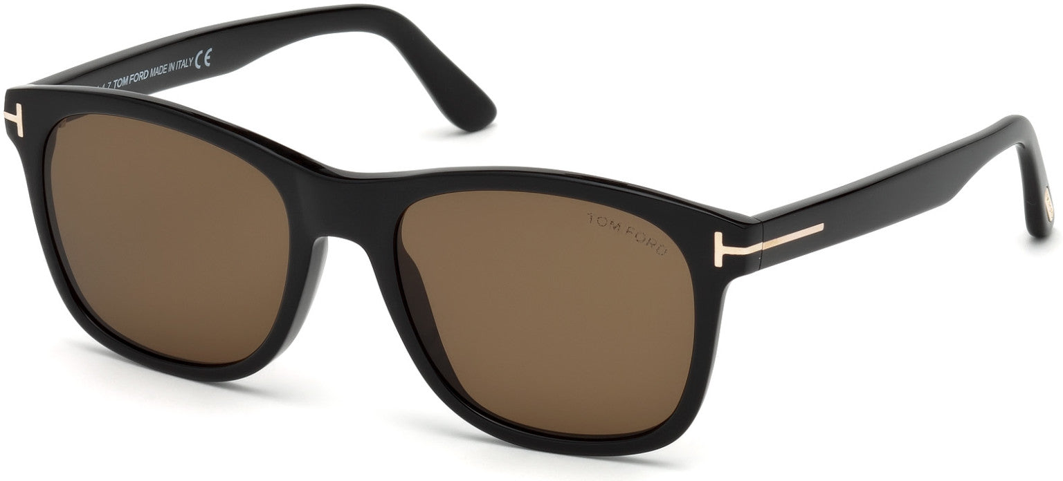 Tom Ford FT0595 Eric-02 Geometric Sunglasses 01J-01J - Shiny Black, Rose Gold T Logo/ Roviex Lenses