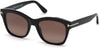 Tom Ford FT0614 Lauren-02 Geometric Sunglasses 01H-01H - Shiny Black, Palladium T Logo/ Gradient Burgundy Polarized Lenses