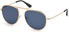 Tom Ford FT0621 Jason-02 Pilot Sunglasses 28V-28V - Shiny Rose Gold / Blue Lenses