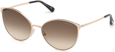 Tom Ford FT0654 Zeila Geometric  Sunglasses 28F-28F - Shiny Rose Gold, Shiny Dark Havana / Gradient Brown Lenses
