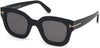 Tom Ford FT0659 Pia Geometric Sunglasses 01A-01A - Shiny Black / Smoke Lenses