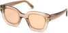 Tom Ford FT0659 Pia Geometric Sunglasses 45G-45G - Shiny Transparent Rose Champagne/ Pink Mirrored Lenses