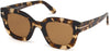 Tom Ford FT0659 Pia Geometric Sunglasses 56E-56E - Shiny Light Tortoise Havana/ Brown Lenses