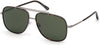 Tom Ford FT0693 Benton Geometric Sunglasses 14N-14N - Light Ruthenium, Classic Dark Havana Acetate Rims/ Green Smoke Lenses