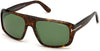 Tom Ford FT0754 Navigator Sunglasses 52N-52N - Shiny Classic Dark Havana/ Green Lenses