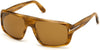 Tom Ford FT0754 Navigator Sunglasses 56E-56E - Shiny Brown Havana W. Dark Brown Stripes/ Vintage Brown Lenses