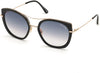 Tom Ford FT0760 Round Sunglasses 01B-01B - Shiny Black Acetate W. Shiny Rose Gold/ Gradient Smoke Lenses