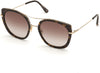 Tom Ford FT0760 Round Sunglasses 52F-52F - Shiny Classic Dk. Havana W. Shiny Rose Gold/ Gradient Brown Lenses