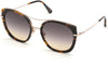 Tom Ford FT0760 Round Sunglasses 55B-55B - Shiny Vintage Havana W. Shiny Rose Gold/ Grad. Smoke-To-Yellow Lenses