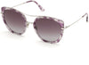 Tom Ford FT0760 Round Sunglasses 56T-56T - Shiny Vintage Lilac Havana W. Shiny Palladium/ Grad. Burgundy Lenses