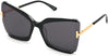 Tom Ford FT0766 Square Sunglasses 03A-03A - Black & Crystal W. Endura Gold Temples/ Grey Lenses