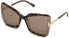 Tom Ford FT0766 Square Sunglasses 56J-56J - Dark Havana & Transparent Lt. Grey W. Rose Gold Temples/ Roviex Lenses