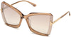Tom Ford FT0766 Square Sunglasses 57G-57G - Rosãƒâ¨ Champagne W. Rose Gold Temples/ Grad. Brown Silver Flash Lense