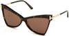 Tom Ford FT0767 Butterfly Sunglasses 52E-52E - Shiny Classic Dark Havana W. Shiny Rose Gold Temples/ Brown Lenses