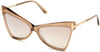 Tom Ford FT0767 Butterfly Sunglasses 57G-57G - Rosãƒâ¨ Champagne W. Rose Gold Temples/ Grad. Brown Silver Flash Lense
