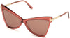 Tom Ford FT0767 Butterfly Sunglasses 72Y-72Y - Transparent Antique Pink W. Rose Gold Temples / Light Rose Lenses