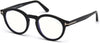 Tom Ford FT5529-B Round Eyeglasses 001-001 - Shiny Black/ Blue Block Lenses