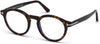 Tom Ford FT5529-B Round Eyeglasses 052-052 - Shiny Dark Havana/ Blue Block Lenses