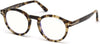 Tom Ford FT5529-B Round Eyeglasses 055-055 - Shiny Vintage Havana/ Blue Block Lenses