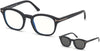 Tom Ford FT5532-B Geometric Eyeglasses 02A-02A - Matte Black/ Blue Block Lenses, Smoke Clip In Black Leather