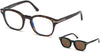 Tom Ford FT5532-B Geometric Eyeglasses 52J-52J - Havana/ Blue Block Lenses, Brown Clip In Green Leather