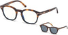Tom Ford FT5532-B Geometric Eyeglasses 56V-56V - Havana-To-Black/ Blue Block Lenses, Vintage Blue Clip In Brown Leather
