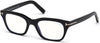 Tom Ford FT5536-B Geometric Eyeglasses 001-001 - Shiny Black/ Blue Block Lenses
