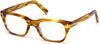 Tom Ford FT5536-B Geometric Eyeglasses 045-045 - Shiny Striped Light Brown/ Blue Block Lenses