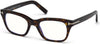 Tom Ford FT5536-B Geometric Eyeglasses 052-052 - Shiny Dark Havana/ Blue Block Lenses