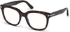 Tom Ford FT5537-B Geometric Eyeglasses 052-052 - Shiny Dark Havana/ Blue Block Lenses