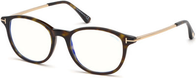 Tom Ford FT5553-B Round  Eyeglasses 052-052 - Dark Havana