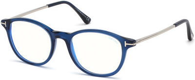 Tom Ford FT5553-B Round  Eyeglasses 090-090 - Shiny Blue