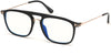 Tom Ford FT5588-B Navigator  Eyeglasses 001-001 - Shiny Black, Shiny Rose Gold / Blue Block Lenses