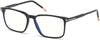 "Tom Ford FT5607-B Rectangular Eyeglasses 001-001 - Shiny Black, Shiny Rose Gold ""t"" Logo/ Blue Block Lenses"