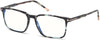 "Tom Ford FT5607-B Rectangular Eyeglasses 055-055 - Shiny Dark Teal Havana, Shiny Rose Gold ""t"" Logo/ Blue Block Lenses"