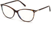Tom Ford FT5616-F-B Square Eyeglasses 052-052 - Shiny Classic Dk. Havana W. Shiny Rose Gold Details/ Blue Block Lenses