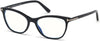 Tom Ford FT5636-B Square  Eyeglasses 001-001 - Shiny Black, Rose Gold/ Blue Block Lenses