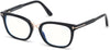 Tom Ford FT5637-B Square  Eyeglasses 001-001 - Shiny Black, Shiny Rose Gold/ Blue Block Lenses