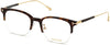 Tom Ford FT5645-D Eyeglasses 052-052 - Shiny Classic Dark Havana W. Tf Yellow Gold Temples/ Blue Block Lenses