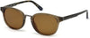 Gant GA7096 Round Sunglasses 49H-49H - Shiny Brown Front, Olive Tortoise Temples, Polarized Brown Lens