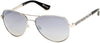 Guess By Marciano GM0754 Pilot Sunglasses 06C-06C - Shiny Silver/smoke Gradient With Light Flash Lens