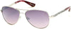 Guess By Marciano GM0754 Pilot Sunglasses 06Z-06Z - Shiny Silver/smoke-Violet Gradient With Light Flash Lens