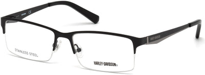 Harley-Davidson HD0766 Rectangular Eyeglasses 001-001 - Shiny Black