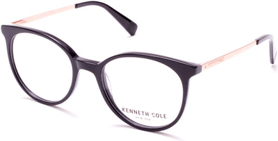 Kenneth Cole New York,Kenneth Cole Reaction KC0288 Round  Eyeglasses 001-001 - Shiny Black
