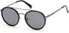 Kenneth Cole New York,Kenneth Cole Reaction KC7204 Round Sunglasses 01A-01A - Shiny Black  / Smoke